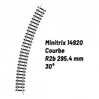 Rail Courbe R2b 295.4 mm 30°-N-1/160-MINITRIX 14920
