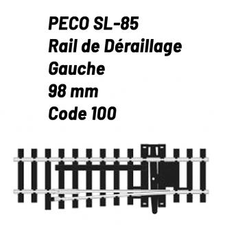 Rail de déraillage Gauche Code 100 98 mm-HO 1/87-PECO SL85