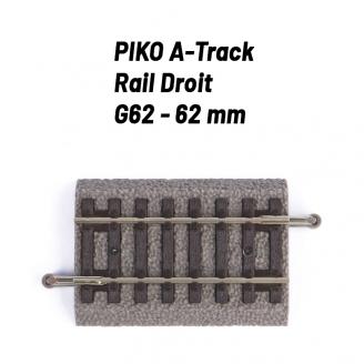 Rail Droit 62 mm avec ballast-HO 1/87-PIKO 55405