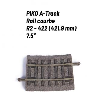 Rail Courbe R2 - 422 mm 7.5°-HO 1/87-PIKO 55418