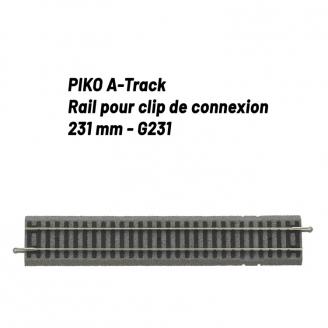 Rail pour clip de connexion 231 mm avec ballast-HO 1/87-PIKO 55406