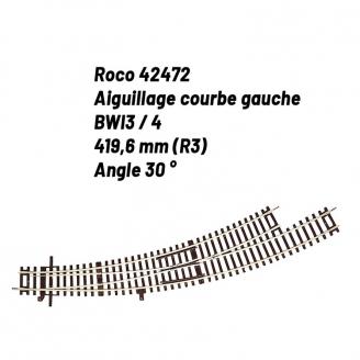 Aiguillage courbe gauche R3 30 degrés-HO-1/87-ROCO 42472
