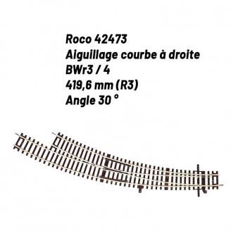 Aiguillage courbe droite R3 30 degrés-HO-1/87-ROCO 42473