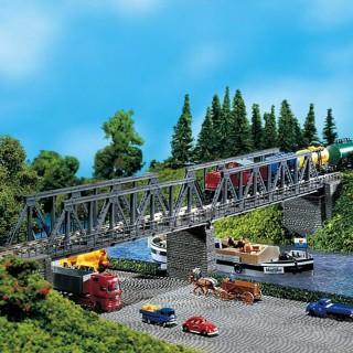 Pont droit à caisson métallique-N-1/160-FALLER 222578