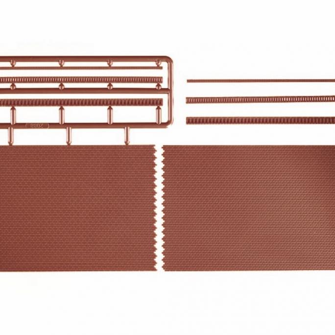 2 plaques mur en briques rouges avec chapeau-HO et N-AUHAGEN  41205