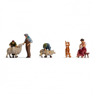 4 personnages - Tonte de moutons  - HO 1/87 - NOCH 15751