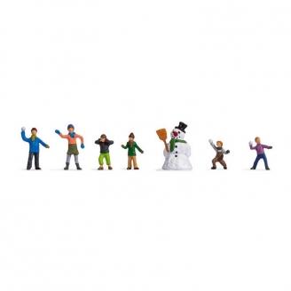 6 enfants jouant dans la neige + Bonhomme de neige - HO 1/87 - NOCH 15821
