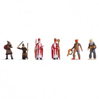 6 personnages St Nicolas + Père Fouettard - HO 1/87 - NOCH 15929
