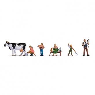 5 personnages à la ferme + animaux - HO 1/87 - NOCH 15609
