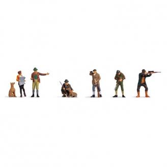 6 chasseurs et gardes forestier + 2 chiens - N 1/160-NOCH 36059