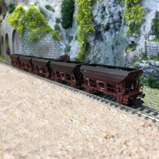 5 wagons trémie + bâtiment DB Ep IV-N 1/160-MINITRIX 15536