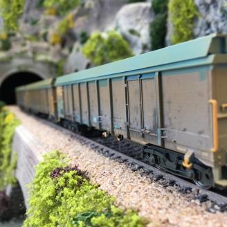 """3 wagons hauts """"Transport de copeaux de bois"""" NS Ep V - HO 1/87 - TRIX 24367"""