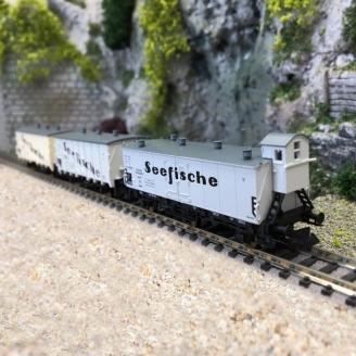 """3 wagons frigorifiques """"Seefische"""", DRG Ep II - N 1/160 - FLEISCHMANN 881810"""