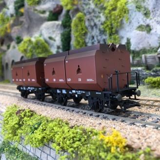 """2 wagons plats avec trois """"seaux"""" de charbon DB Ep IV - HO 1/87 - TRIX 24177"""