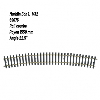 Rail courbe Rad. 1550 mm 22.5°-1 1/32-MARKLIN 59076