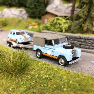 Land Rover 88 + Remorque Mini Racing-HO 1/87-SCHUCO 452659500