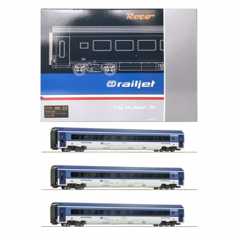 Coffret 3 voitures Railjet CD Ep VI-HO 1/87-ROCO 74067