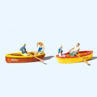 4 Personnages + 2 Barques - Balade - HO 1/87 - PREISER 10686