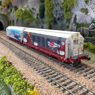 "2 wagons HBBILLS-uy ""Décorés"" Ep VI-HO 1/87-MABAR 87523"