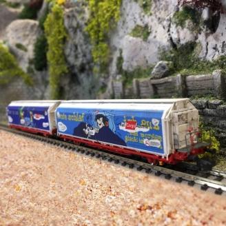 """2 wagons HBBILLS-uy """"Décorés"""" Ep VI-N 1/160-MABAR 86521"""