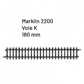 Rail droite 180 mm Voie K- HO 1/87 - MARKLIN 2200