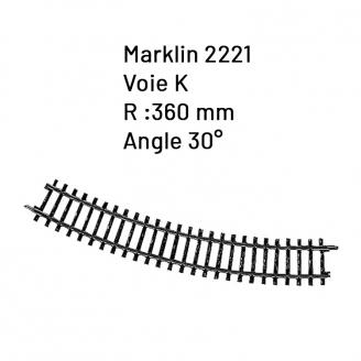 Rail courbe R 360 mm / 30° Voie K- HO 1/87 - MARKLIN 2221