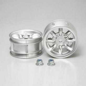 2 Jantes Grises Aluminium à 8 Branches M-châssis - 1/10 - TAMIYA 50676