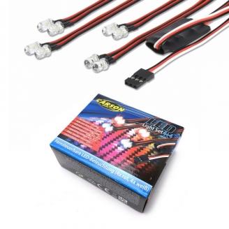 Kit d'éclairage LED 4 rouge + 4 blanc + télécommande - 1/10 - CARSON 500906240