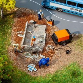 Lot de machines et engins de chantiers - HO 1/87 - FALLER 180344