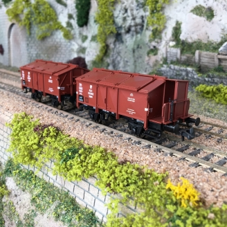 2 wagons à couvercle rabattable, PKP Ep III -HO 1/87-ROCO 76043