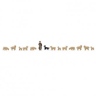 Berger et son troupeau de moutons + chien-N-1/160-FALLER 155901