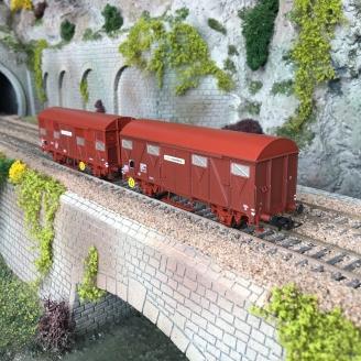 2 Wagons couverts G4.1 et G4.2 Fret-Express Sncf, Ep IV-HO 1/87-JOUEF HJ6187