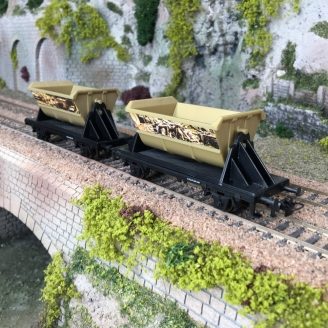 "2 Wagons transport de pépites d'or ""Jim Knopf"" 3R-HO-1/87-MARKLIN 44822"