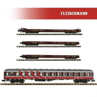 "Coffret 4 éléments ""Rollende Landstraße"" ÖBB Ep V-N 1/160-FLEISCHMANN 881914"