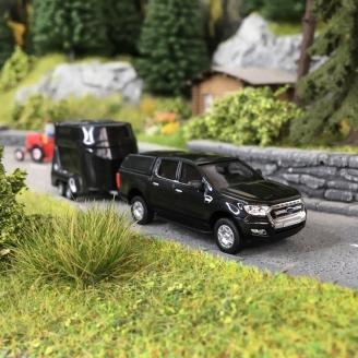 Ford Ranger avec Van à Chevaux-HO-1/87-BUSCH 52814