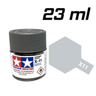 Chrome argenté brillant pot de 23 ml-TAMIYA X11