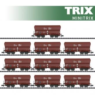 10 wagons-trémies type Erz IIId DB Ep III-N 1/160-MINITRIX 15458