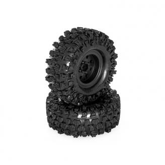 "2 roues complètes noires Crawler ""climber"" 121/45  -  HOBBYTECH HTSU1802001"