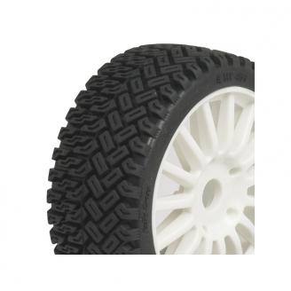 2 roues complètes Rallycross sur jantes blanches - 1/8  -  HOBBYTECH HT454