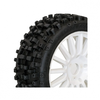 2 roues complètes maxi cross sur jantes blanches - 1/8  -  HOBBYTECH HT458