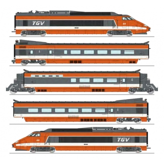 TGV PSE N°69 rame d'origine 5 éléments , Sncf Ep IV digital son 3R-HO 1/87-REE TGV001S