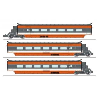 Coffret TGV PSE 3 éléments R2/R5/R6, N°69 rame d'origine, Sncf Ep IV 3R-HO 1/87-REE TGV002SAC