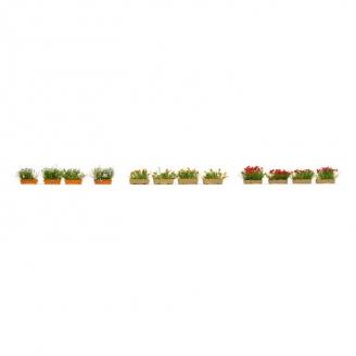 Jardinières fleuries en rouge, blanc et jaune-HO 1/87-NOCH 14009