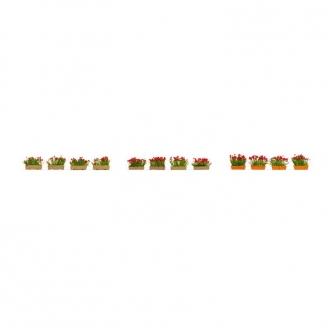 Jardinières fleuries en rouge-HO 1/87-NOCH 14010