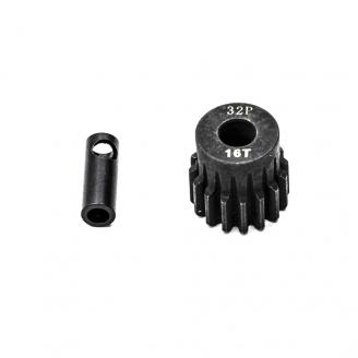 Pignon moteur 32DP Ø5mm + adaptateur 3.17mm 16 dents en acier - 1/10 - KONECT KN-183216