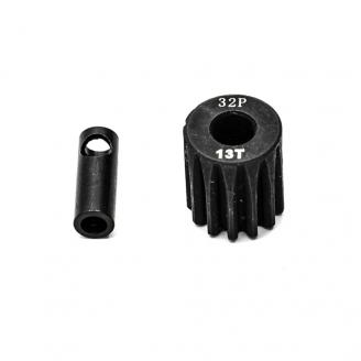 Pignon moteur 32DP Ø5mm + adaptateur 3.17mm 13 dents en acier - 1/10 - KONECT KN-183213
