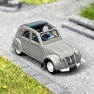 Citroën 2 CV AZLP 1958 grise, capote grise ouverte -HO 1/87-SAI 6010