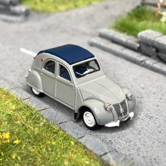 Citroën 2 CV AZLP 1958 grise, capote bleu foncé fermée -HO 1/87-SAI 6001