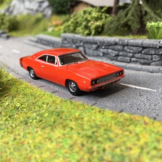 Dodge Charger 1968 Orange / Noire-HO-1/87-OXFORD 29436