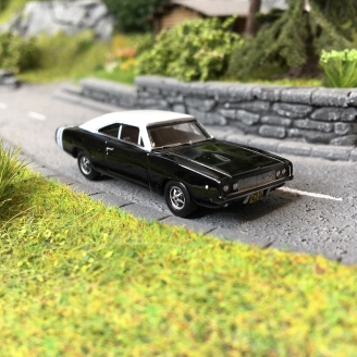 Dodge Charger 1968 Noire / Blanche-HO-1/87-OXFORD 33419